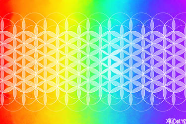 Rainbow Flower of Life by AliDee33