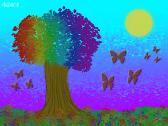 Abstract Rainbow Tree by AliDee33