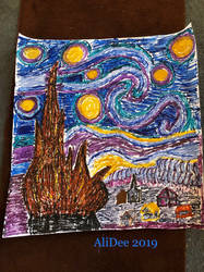 Starry Night in Melted Crayons by AliDee33