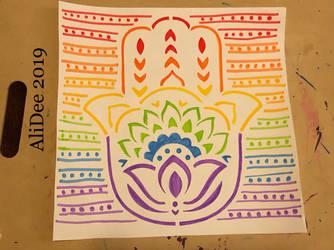 Rainbow Hand of Hamsa by AliDee33