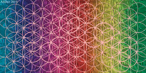 Rainbow Overlapping Flower of Life by AliDee33