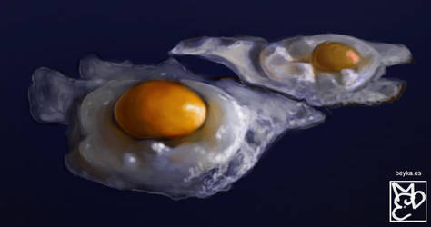 fried eggs by Beyka