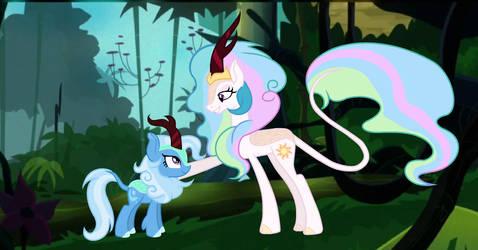 Trixie And Celestia As KIRIN by Ementy344Shiney45