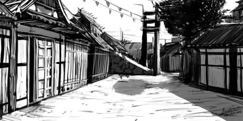 street sketch by faustsketcher