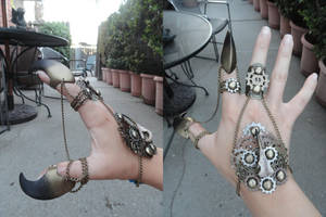 Beak/ Hummingbird steampunk bracelet by PhoenixThriving