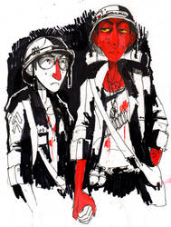 Beav and Awan in Ink by Russalad