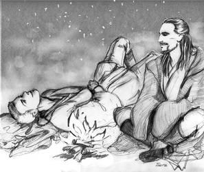Obi-Wan and Qui-Gon by Tssuru