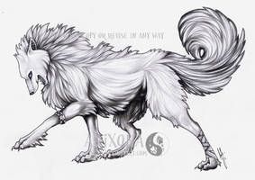Wolf of ice (uncolored) by Arixona