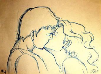 the kiss sketch by tetrapercu