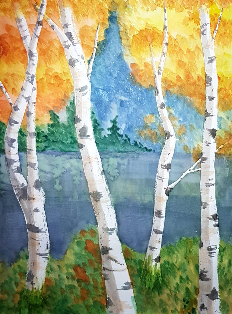Watercolour Birches by GlowingMember