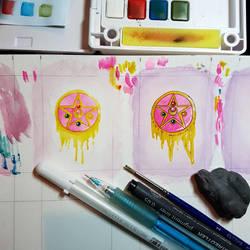 Tiny Paintings in Progress: Sailor Moon Brooch by GlowingMember