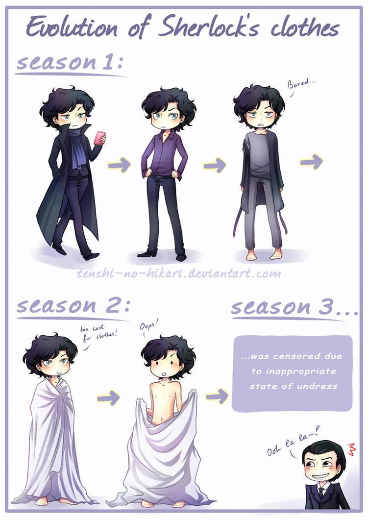 BBC SH - Evolution of Sherlock's clothes by Tenshi-no-Hikari