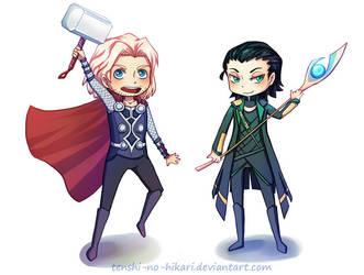 Thor and Loki chibis by Tenshi-no-Hikari