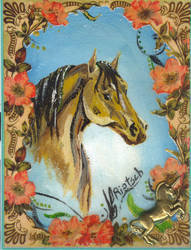 Antique Horse Painting by Black-Feather