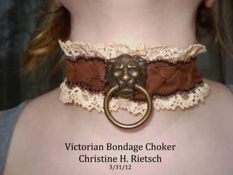 Victorian Bondage Choker Front View on model by Black-Feather