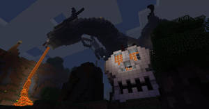 Dragons Landing at night in Minecraft by Black-Feather