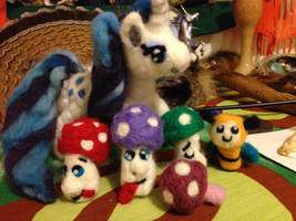 Needle Felting projects:  MLP Rarity and shrooms by Black-Feather