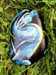 Feathered Dragon Acrylic on a Rock by Black-Feather