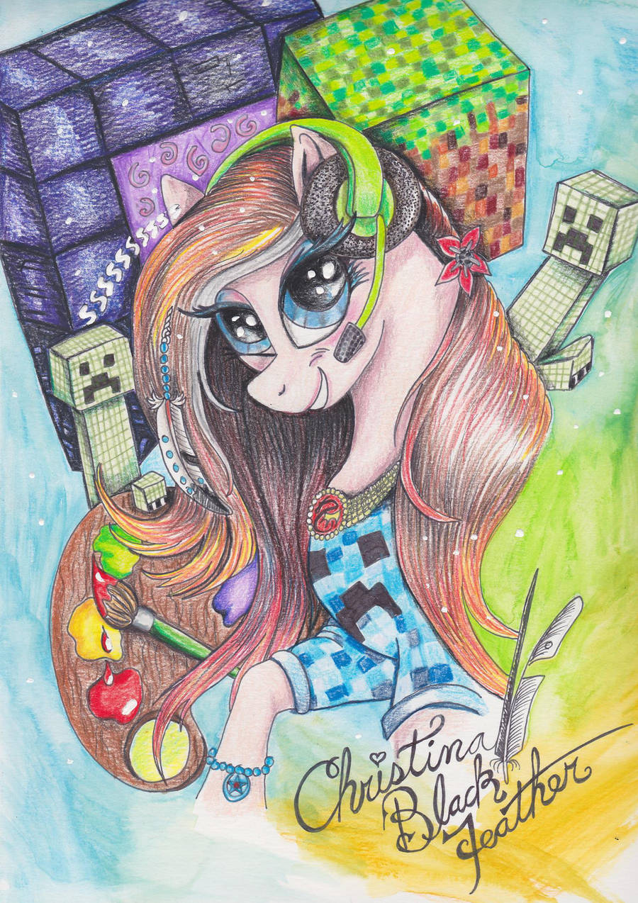 Christina Blackfeather from Youtube as a Pony by Black-Feather