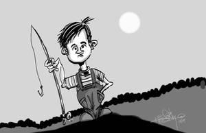 Fishing Boy by slashdraw