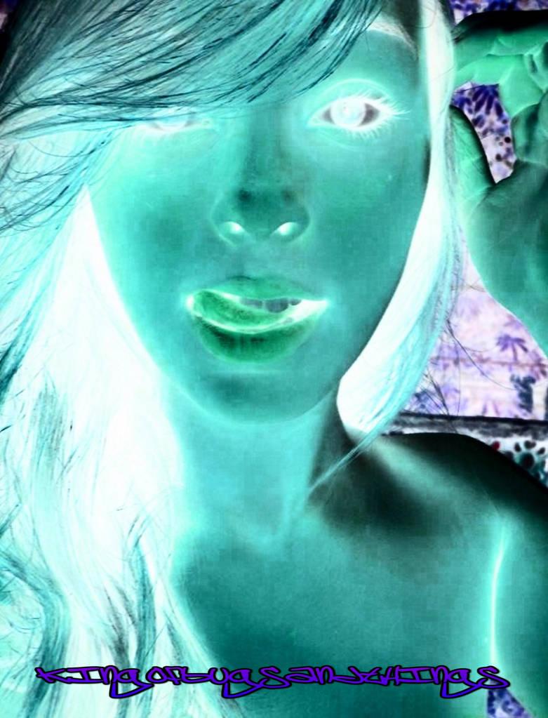 Cyberpunk Gal In Neon by Kingofbugsandthings