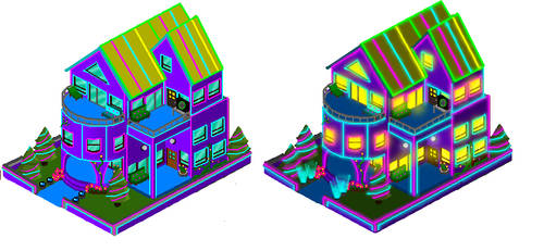 Neon Teen Party House. by MauroDboyPVZ