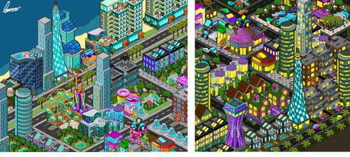 Night and day on  ''Green city'' by MauroDboyPVZ
