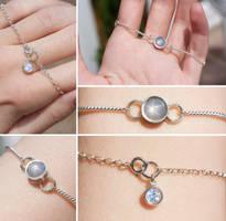 Grey-White Star Sapphire and Moonstone Bracelet by Sarahorsomeone