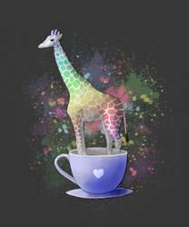 Giraffe in a Teacup by Sarahorsomeone