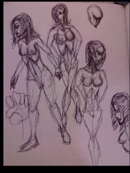Old sketchbook quick and dirty pen poses 03 by Kydrin