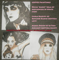 coffee paintings: Ghost, Carla and Maria by HappyThreeCheers