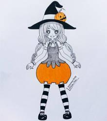 Inktober Day 04 - Pumpkin Witch by nakuchan9095