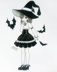 Inktober Day 06 - Bat Witch by nakuchan9095