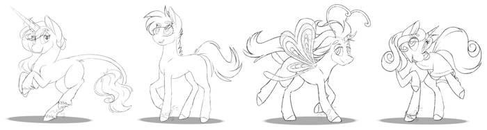 pony OC sketches by teeny16