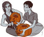 cait and stella carving pumpkins commission by soularch