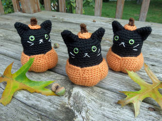 Pumpkin Kitty Amigurumi by MilesofCrochet