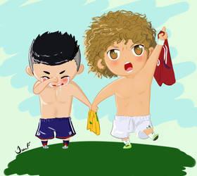 David Luiz and  James Rodriguez by TiaAnthy