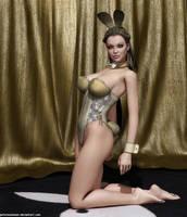 Gold bunny by Lynxander
