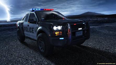 Police car in thunder by Lynxander