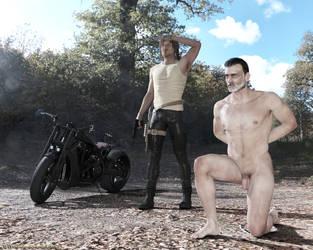 Negan takes a knee by Lynxander