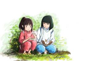 Spirited Away - Chihiro + Haku by vivsters