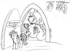 Quickie Gift Sketch: Fluttershy's Date by the-gneech