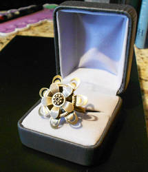 Steampunk ring, flower design by lilvoodoo
