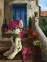 Pony in the village by Amy-Gamy