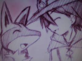 Lucario and Ash by lucarioriolu