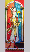 Medieval Motif. Glass painting. 2009 by Yudaev