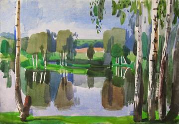 Birch-trees above the Lake. Bulatnikovo. 2005 by Yudaev