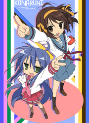 Suzumiya Haruhi + Izumi Konata by DivineKaze