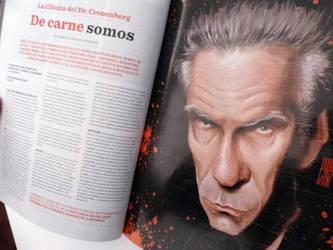 Caricatura de David Cronenberg, en Revista VLOV by Parpa