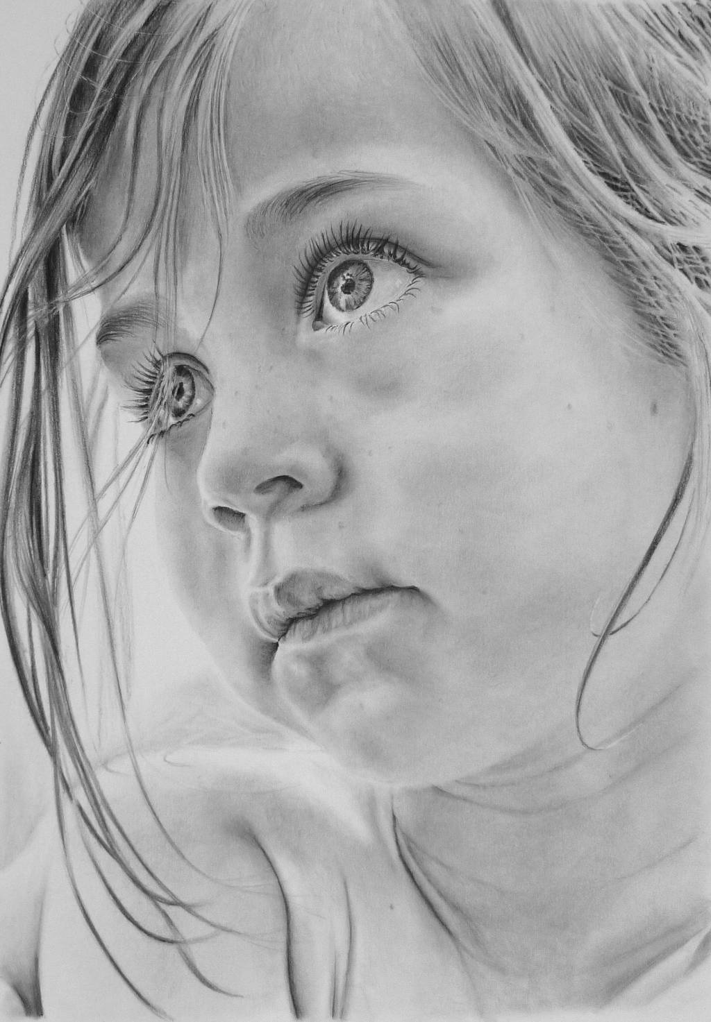 Pencil portrait of a young girl by LateStarter63